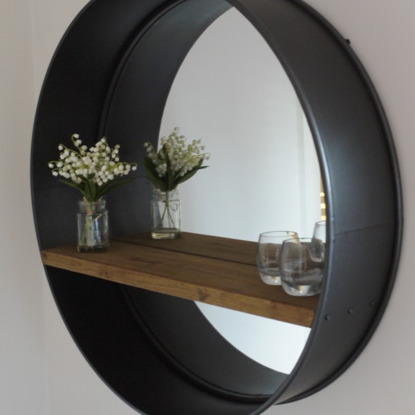 Retro industrial vintage style large round wall mirror for Vintage style mirrors