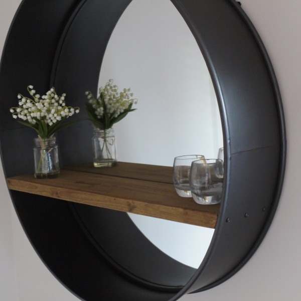 retro industrial vintage style large round wall mirror. Black Bedroom Furniture Sets. Home Design Ideas