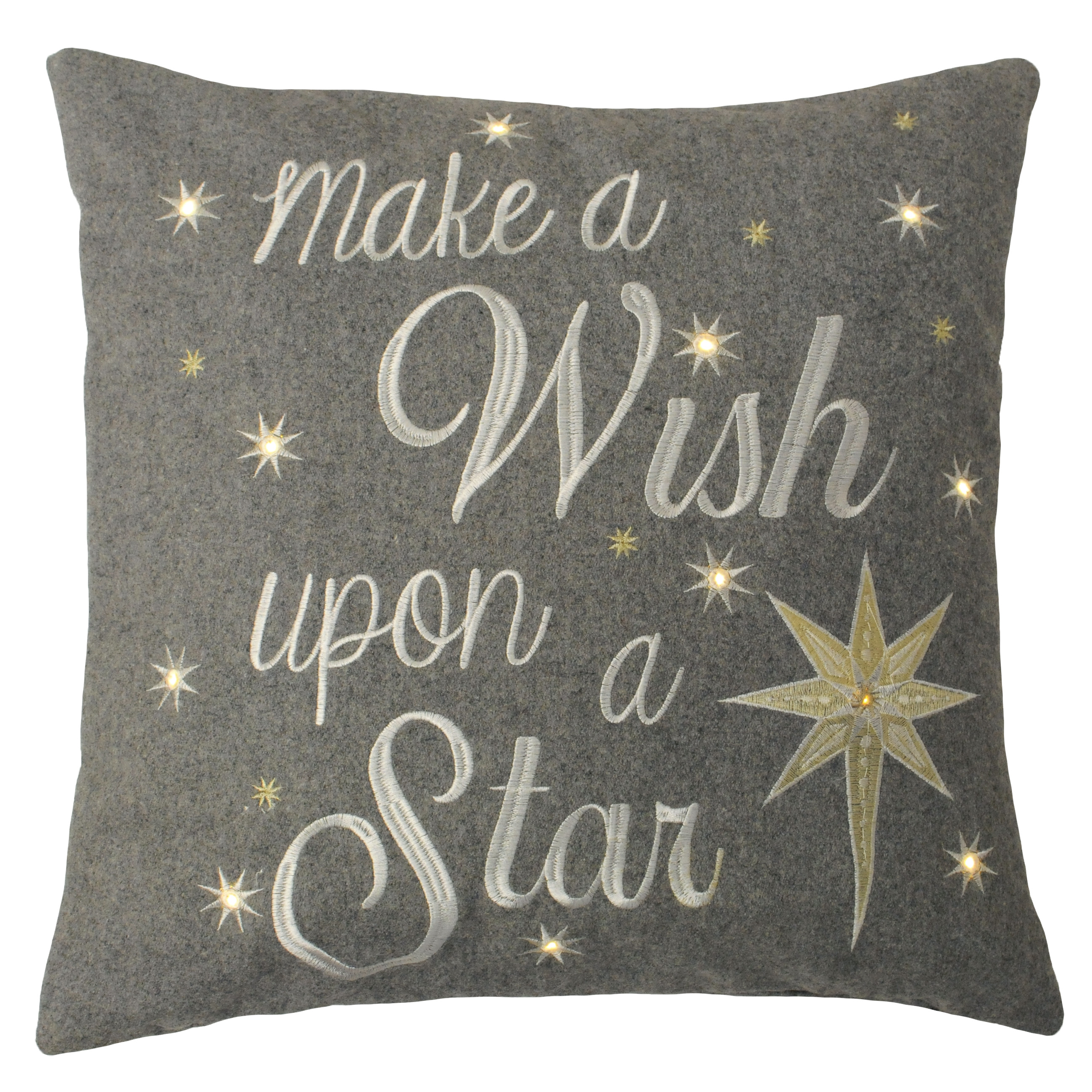 Christmas Wish Upon A Star Light Up Cushion Cover 45cm X